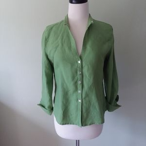 Jasmine lime green button-down linen shirt